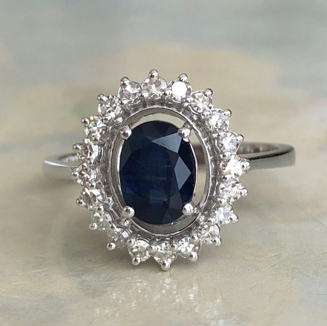 18 kt. White gold - Ring - 1.00 ct Sapphire