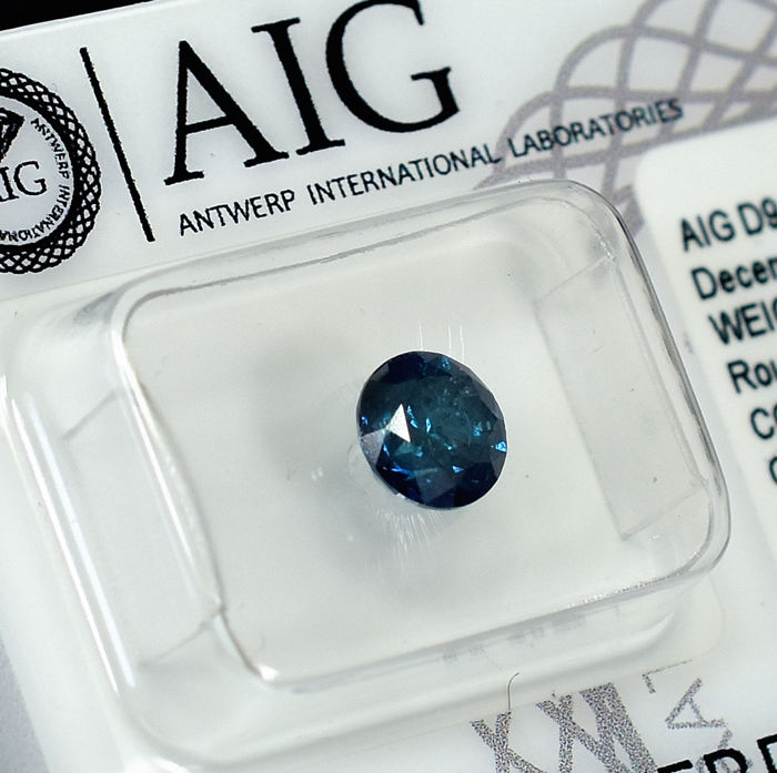 Diamant - 1.01 ct - Brillant - Fancy Deep Blue - I2 - EXC/VG/VG