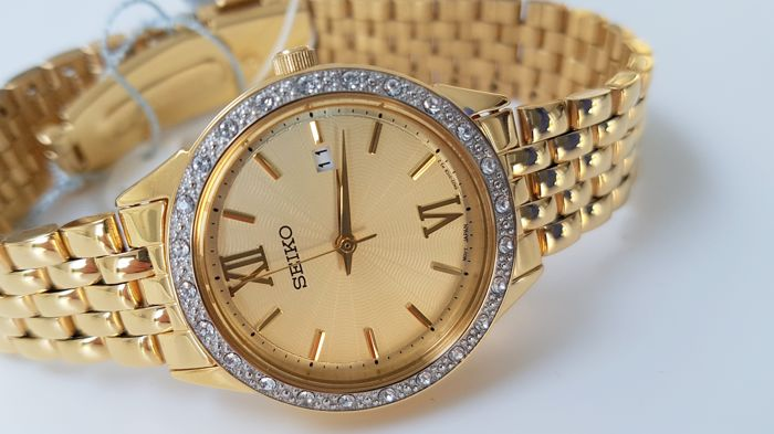 Seiko -  lady luxury Gold Plated real Swarovski Crystals  - Dames - 2018