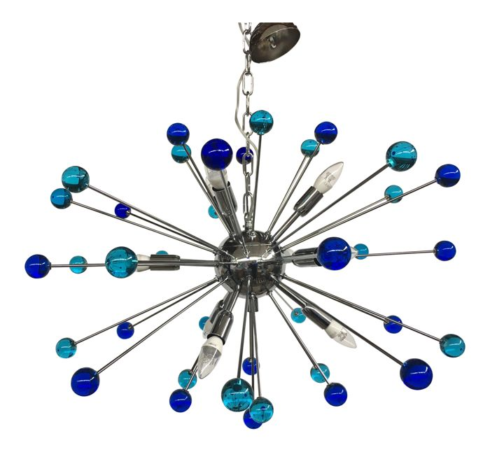 Unknown designer - Hanging lamp, Glass Triedo Sputnik Chandelier