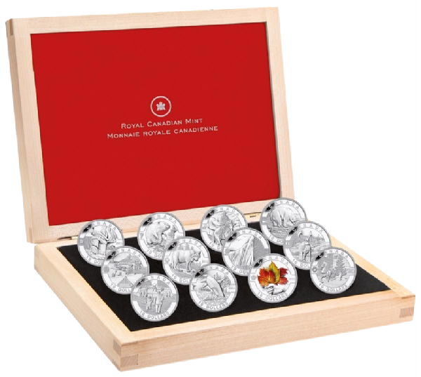 Canada - 10 Dollars 2013 'O Canada Series - Animals, Culture & Natural Wonders'' (12 coins) in Deluxe wooden box - Silver