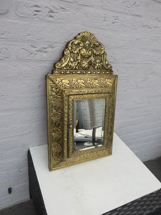 Antique Facet Cut Hall mirror (1) - Brass and Wood