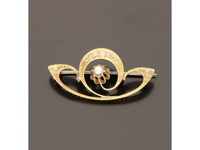 14 kt. Yellow gold - Brooch Pearl - Diamond
