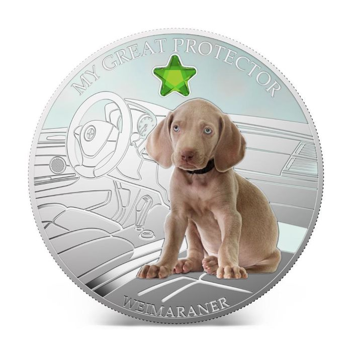 "Fiji. 2 Dollars 2013 - My Great Protector WEIMARANER + GEM STONE"" - 1 Oz"