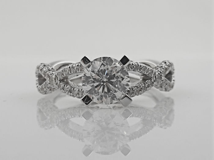 14 kt. White gold - Ring - Clarity enhanced 0.98 ct Diamond - Diamond