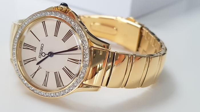 Seiko - 'NO RESERVE PRICE'  lady luxury Gold Plated real Swarovski Crystals - Dames - 2019