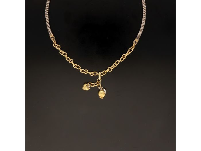 18 kt. Bicolour, Silver, Yellow gold - Necklace