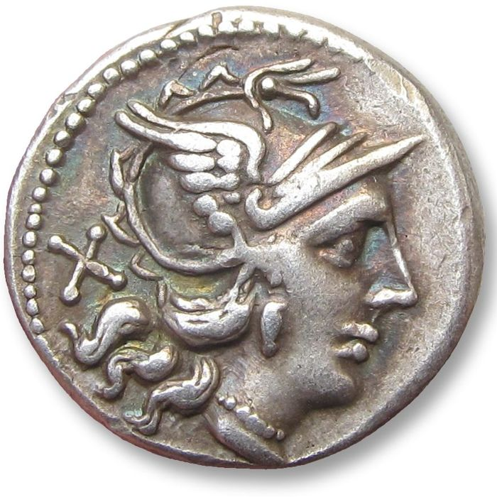 Romeinse Republiek - Anonymous issues. AR Denarius, Rome 157-156 B.C. - attractively toned - Zilver