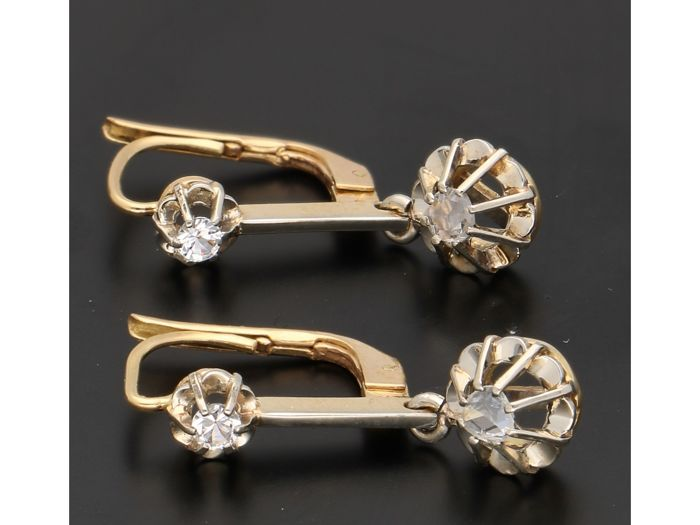 18 kt. Yellow gold - Earrings - 0.34 ct Diamond