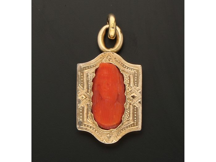 14 kt. Yellow gold - Pendant Blood coral