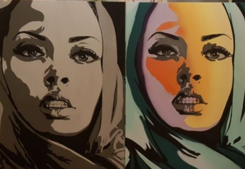 Dverso - One shawl two moods (2 paintings)