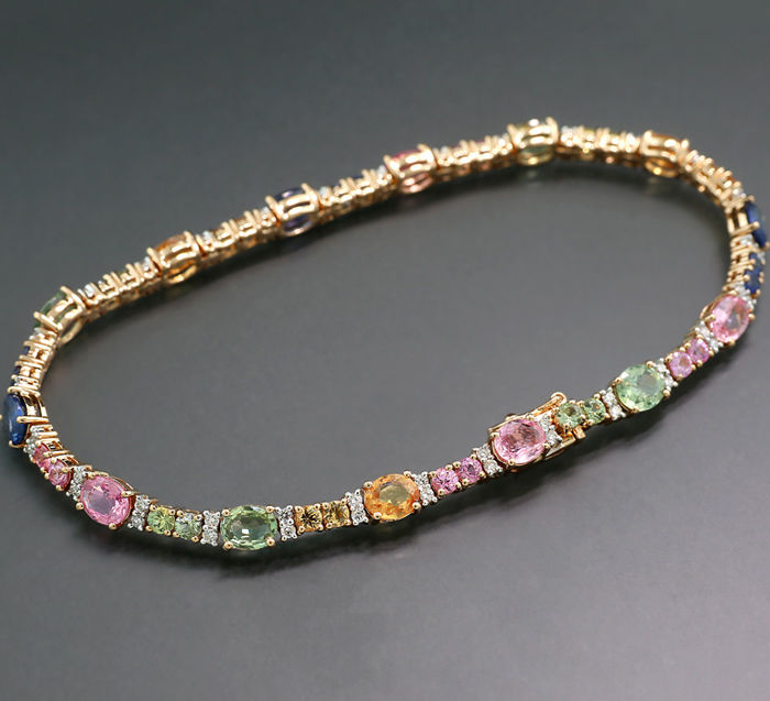 18 carats Or rose - Bracelet - 7.50 ct saphirs multicolores SANS RÉSERVE! - Diamant
