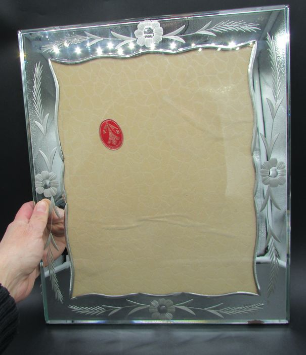 large picture frame glass mirror floral - Glass