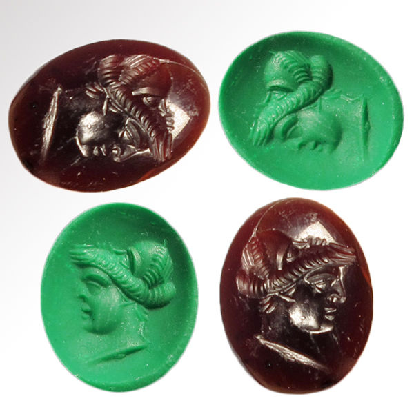 Ancient Roman Garnet Intaglio with Head of a Lady and Hidden Face of a Man