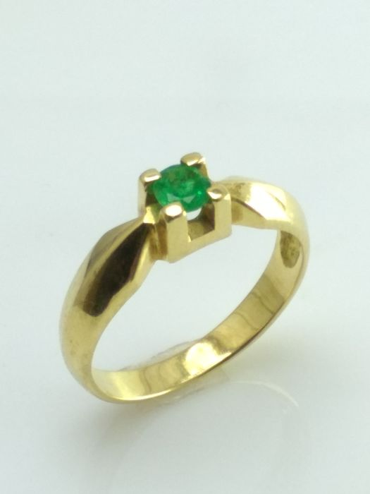 18 kt Gelbgold - Ring - 0.25 ct Smaragd