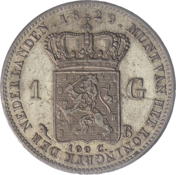 The Netherlands - 1 Gulden 1829 B jaartalwijziging over 182_  Willem I  - Silver