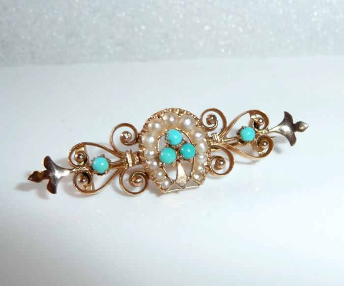 14 kt. Pink gold - Filigree Victorian brooch 13 seed beads + 5 turquoise