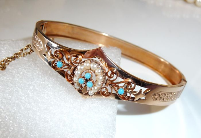 14 kt. Pink gold - Antique bangle to unfold 11 seed beads + 5 turquoise