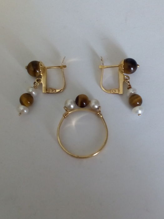 18 kt. Yellow gold - Earrings, Ring, Set Tiger's Eye - Pearls