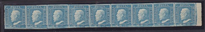 Sicilië 1861 - 2 gr. light azure III plate, strip of 9 with sheet edge on the right, pos. NN. 72/80 - Sassone N. 8