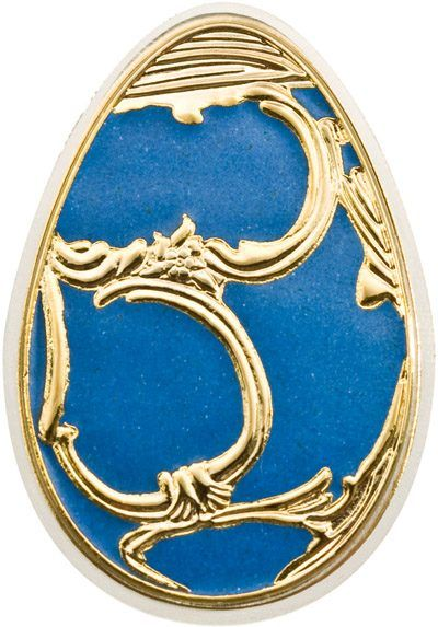 Cook Islands - 5 Dollar 2010 'Imperial Eggs in Cloisonné Blue Faberge  - .999 20gram - Silver