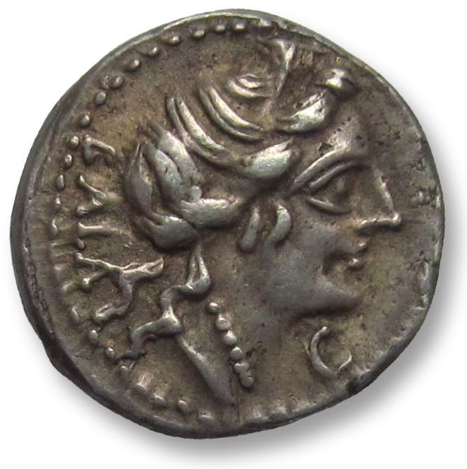 Romeinse Republiek - AR Denarius, C. Allius Bala. Rome 92 B.C. - biga of stags, grasshopper symbol, beauty - Zilver