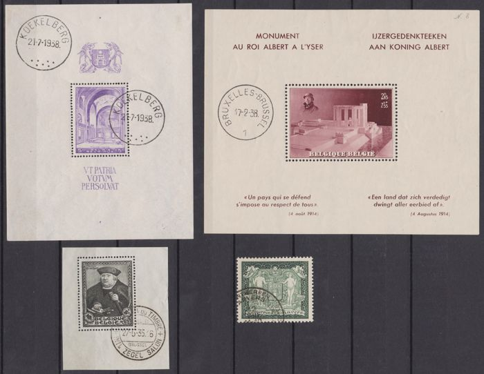België 1930/1938 - Selection of souvenir sheets and single pieces with special exhibition cancellations