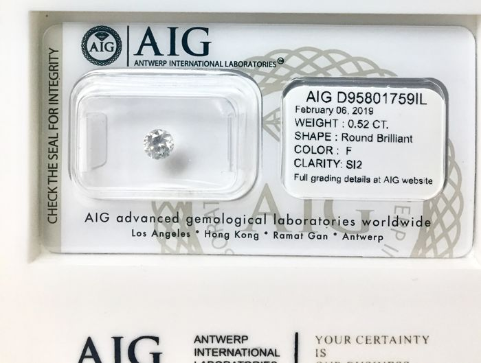 1 pcs Diamante - 0.52 ct - Brillante, Rotondo - F - SI2