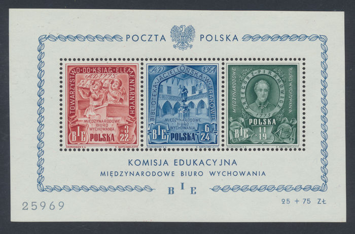 Poland 1946 - BIE block 9, MNH with certificate