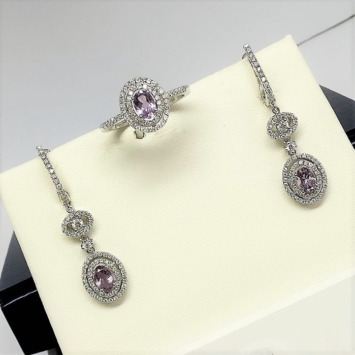 18 kt. White gold - Set - 1.27 ct Amethyst - Diamonds