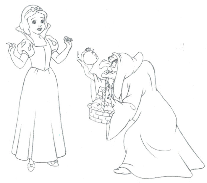 Snow White and the Wicked Queen - Studios Disney - JM Cardona - Original Production Drawing  - Hand Dranw - (1990)