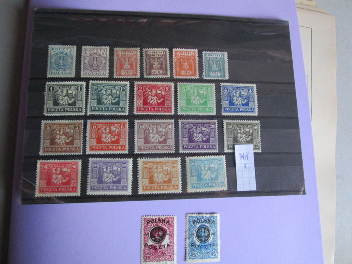 Poland 1918/1970 - On card and many loose pages + stock book with better values