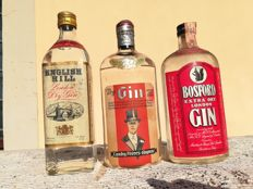 Italian gin: English Hill - Landy Frères - Bosford - London dry gin  - b. Anii `40, anii `60, anii `70 - 75 cl - 3 sticle