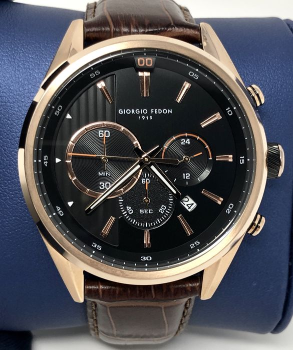 Giorgio Fedon 1919 - Vintage VI Rose Gold with Brown Leather Strap - GFBD004 - Heren - BRAND NEW