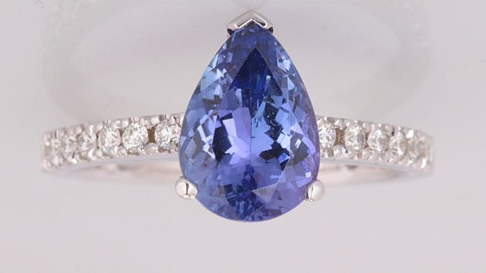 18 carats Or blanc - Bague - 2.50 ct Tanzanite - Diamant