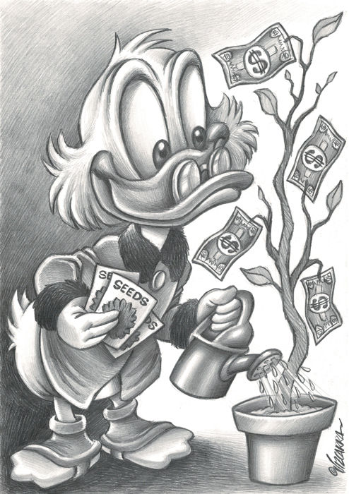Uncle $crooge Watering Money Seeds - Original Drawing - Joan Vizcarra - Potlood kunst