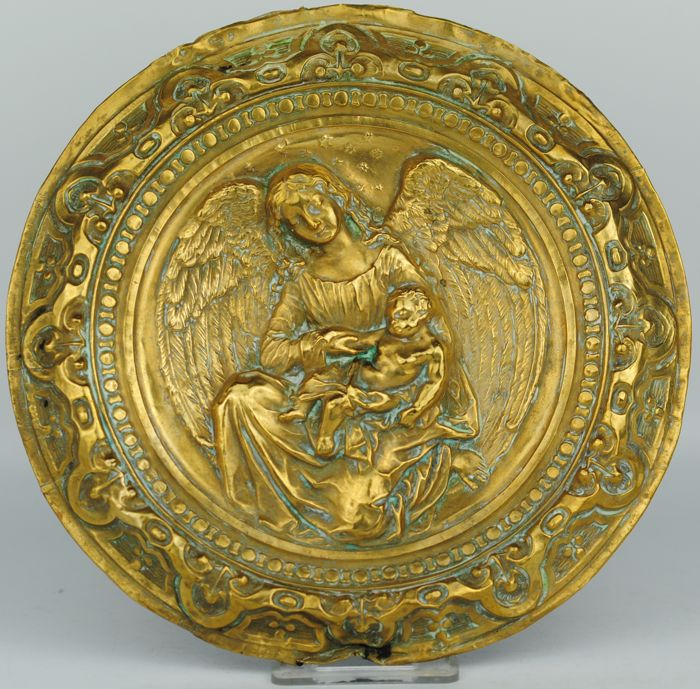 Religious Plaque Depicting one angel and Child - Gilt Brass