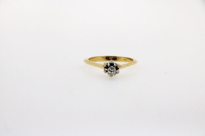 14 kt. White gold, Yellow gold - Ring - 0.15 ct Diamond