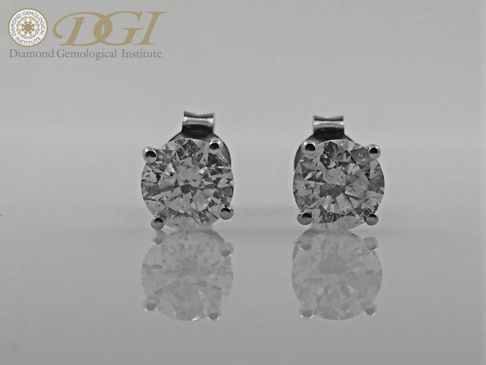 52ce9a667 18 kt. White gold - Earrings - Clarity enhanced 1.88 ct Diamond - No Reserve