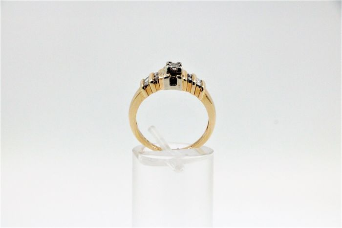 14 kt. White gold, Yellow gold - Ring - 0.25 ct Diamond - Diamond