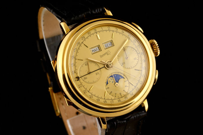 Eberhard & Co. - Rare Limited Triple Date Moonphase Chronograph Gold 18K  - 32001/57 - Men - 1980-1989
