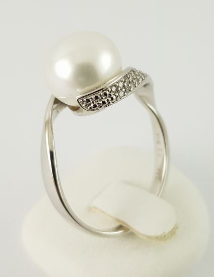 14 kt. Freshwater pearl, White gold - Pearl Ring - 585 White Gold - 1 Pearl + 20 Diamonds - Diamond