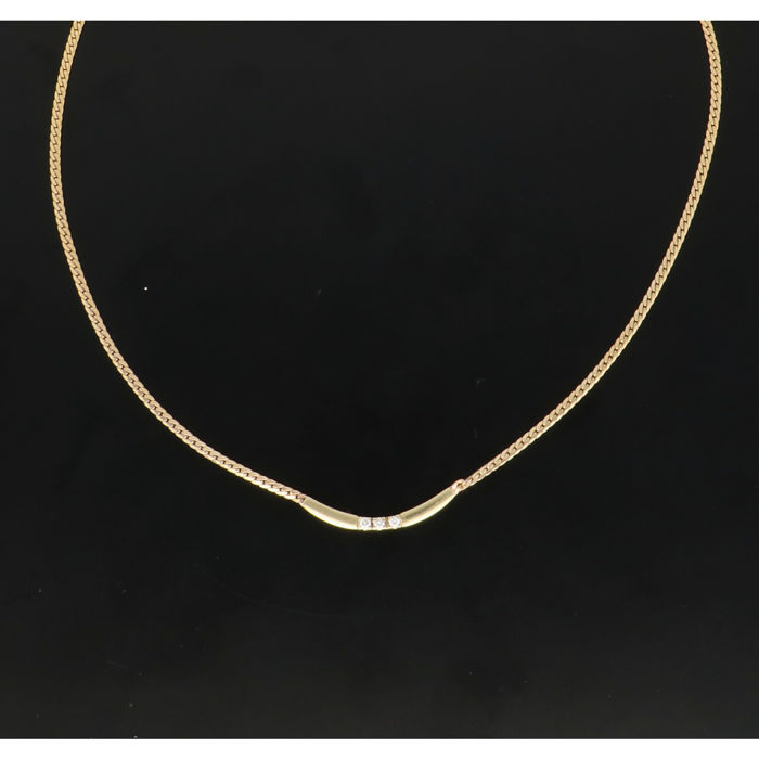 14 kt. Yellow gold - Necklace - 0.06 ct Diamond