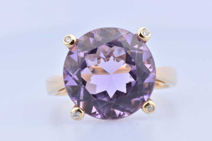 18 kt. Yellow gold - Ring - 7.00 ct Amethyst