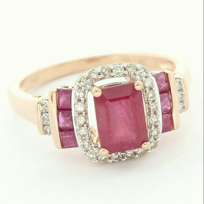 14 kt. Pink gold - Ring - 1.45 ct Ruby - Diamond