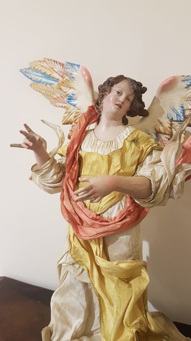 a large polychrome 'Presepe figure' or an Angel, Sculpture - Terracotta - 19th century