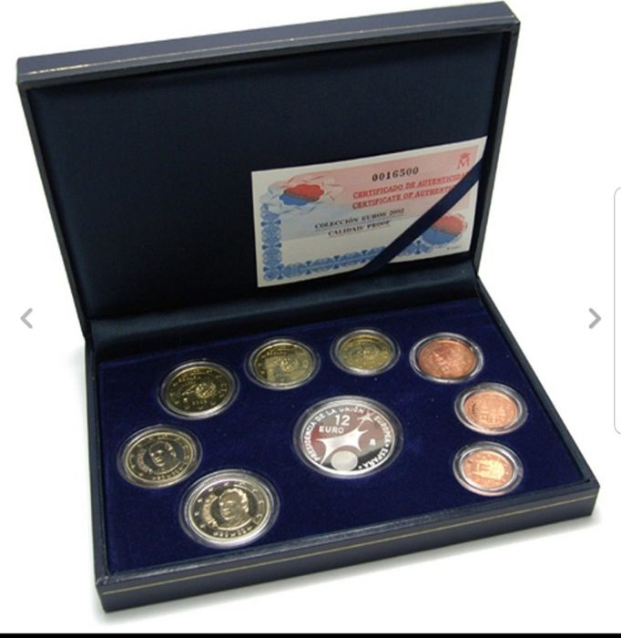 Spain - Euro Proof set 2002 1 Cent tm 2 euro+€12 zilver in casette+certificaat Oplage 23.000 - Silver