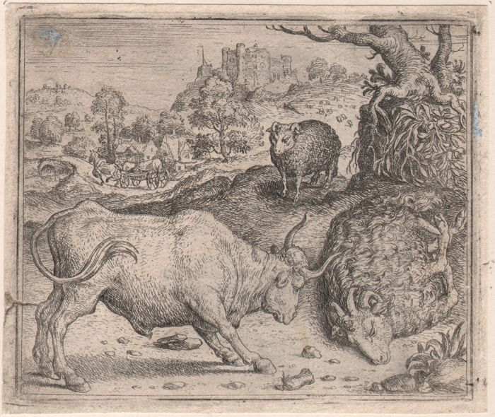 Marcus Gheeraerts (1520-1590) - Ram ende stier - Rare first edition of this etching
