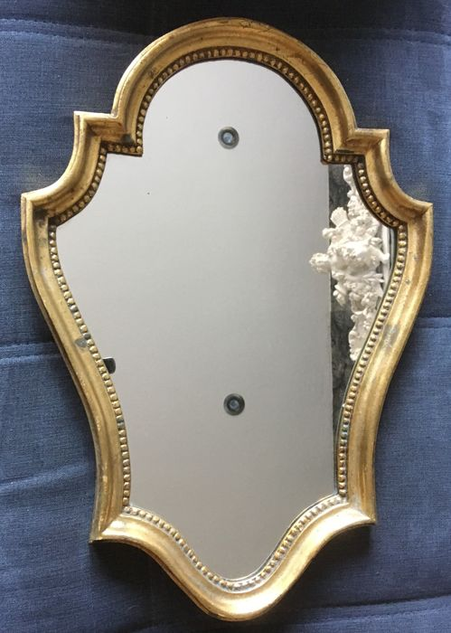 Mirror with golden edge (1) - Wood