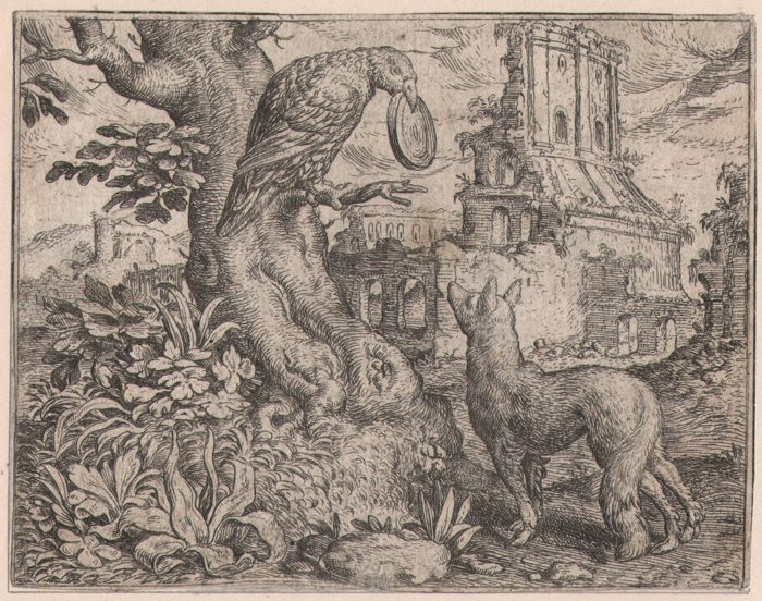 Marcus Gheeraerts (1520-1590) - Vos ende Rave - Rare first edition of this etching